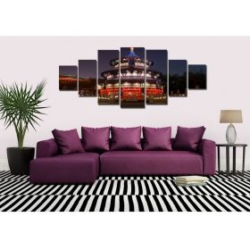 Canvas Wall Art Temple at night, Glowing in the dark, Set of 7, 100 x 240 cm (1 panel 40 x 100 cm, 2 panels 35 x 90 cm, 2 panels 30 x 60 cm, 2 panels 30 x 40 cm)