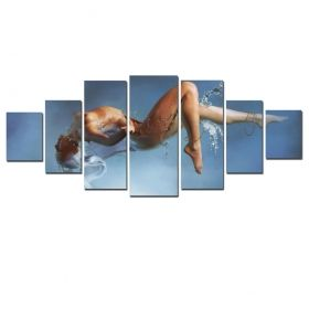 Canvas Wall Art Sensuality, Glowing in the dark, Set of 7, 100 x 240 cm (1 panel 40 x 100 cm, 2 panels 35 x 90 cm, 2 panels 30 x 60 cm, 2 panels 30 x 40 cm)