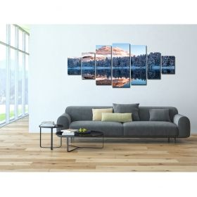 Canvas Wall Art The frozen mountains, Glowing in the dark, Set of 7, 100 x 240 cm (1 panel 40 x 100 cm, 2 panels 35 x 90 cm, 2 panels 30 x 60 cm, 2 panels 30 x 40 cm)