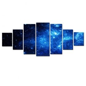 Canvas Wall Art Blue space, Glowing in the dark, Set of 7, 100 x 240 cm (1 panel 40 x 100 cm, 2 panels 35 x 90 cm, 2 panels 30 x 60 cm, 2 panels 30 x 40 cm)