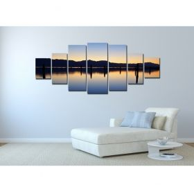Canvas Wall Art Reflection on the lake, Glowing in the dark, Set of 7, 100 x 240 cm (1 panel 40 x 100 cm, 2 panels 35 x 90 cm, 2 panels 30 x 60 cm, 2 panels 30 x 40 cm)