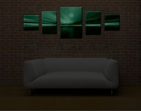 Canvas Wall Art Sunset, Glowing in the dark, Set of 5, 90 x 240 cm (1 panel 60 x 90 cm, 2 panels 40 x 60 cm, 2 panels 40 x 40 cm)
