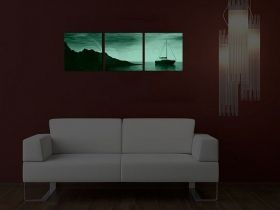 Canvas Wall Art Boat on water, Glowing in the dark, Set of 3, 80 x 240 cm (3 panels 80 x 80 cm)