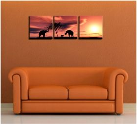 Canvas Wall Art Elephants, Glowing in the dark, Set of 3, 60 x 180 cm (3 panels 60 x 60 cm)