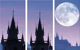 Canvas Wall Art Prague, Glowing in the dark, Set of 3, 120 x 180 cm (3 panels 60 x 120 cm)