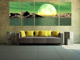 Canvas Wall Art The moon , Glowing in the dark, Set of 3, 80 x 200 cm (1 panel 80 x 80 cm, 3 panels 40 x 80 cm)
