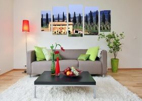 Canvas Wall Art Tuscany, Glowing in the dark, Set of 5, 90 x 180 cm (1 panel 30 x 90 cm, 2 panels 30 x 80 cm, 2 panels 40 x 60 cm)