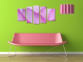 Canvas Wall Art Pink petals, Glowing in the dark, Set of 5, 90 x 180 cm (1 panel 30 x 90 cm, 2 panels 30 x 80 cm, 2 panels 40 x 60 cm)