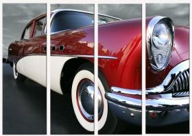 Canvas Wall Art Retro car, Glowing in the dark, Set of 4, 90 x 120 cm (3 panels 30 x 90 cm)