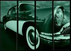Canvas Wall Art Retro car, Glowing in the dark, Set of 4, 120 x 160 cm (4 panels 40 x 120 cm)