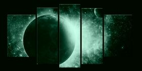 Canvas Wall Art Cosmos, Glowing in the dark, Set of 5, 90 x 180 cm (1 panel 30 x 90 cm, 2 panels 30 x 80 cm, 2 panels 40 x 60 cm)