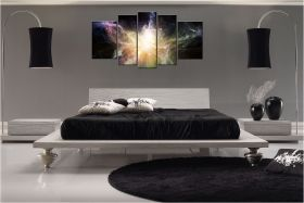 Canvas Wall Art Galaxy, Glowing in the dark, Set of 5, 90 x 180 cm (1 panel 30 x 90 cm, 2 panels 30 x 80 cm, 2 panels 40 x 60 cm)