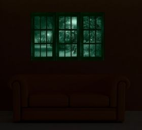 Canvas Wall Art The window to the park, Glowing in the dark, Set of 3, 120 x 120 cm (3 panels 40 x 120 cm)