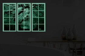 Canvas Wall Art Maple window, Glowing in the dark, Set of 3, 120 x 120 cm (3 panels 40 x 120 cm)