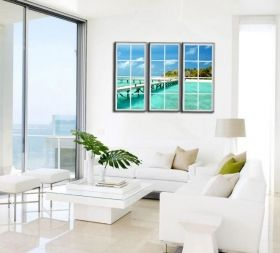 Canvas Wall Art The window to the water, Glowing in the dark, Set of 3, 120 x 120 cm (3 panels 40 x 120 cm)
