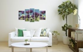 Canvas Wall Art Purple field, Glowing in the dark, Set of 5, 90 x 180 cm (1 panel 30 x 90 cm, 2 panels 30 x 80 cm, 2 panels 40 x 60 cm)