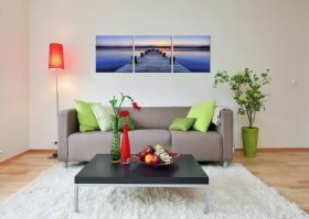 Canvas Wall Art Purple beach, Glowing in the dark, Set of 3, 60 x 180 cm (3 panels 60 x 60 cm)