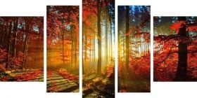 Canvas Wall Art Red Leaves in the Light of Morning, Glowing in the dark, Set of 5, 90 x 180 cm (1 panel 30 x 90 cm, 2 panels 30 x 80 cm, 2 panels 40 x 60 cm)