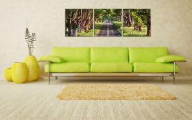 Canvas Wall Art Hit the Road, Jake!, Glowing in the dark, Set of 3, 60 x 180 cm (3 panels 60 x 60 cm)