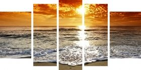Canvas Wall Art Sun and waves, Glowing in the dark, Set of 5, 90 x 180 cm (1 panel 30 x 90 cm, 2 panels 30 x 80 cm, 2 panels 40 x 60 cm)