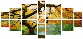 Canvas Wall Art Maple, Glowing in the dark, Set of 15, 100 x 210 cm