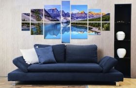 Canvas Wall Art Mountain Lake, Glowing in the dark, Set of 15, 100 x 210 cm