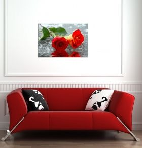 Glass Wall Art Roses on water, Glowing in the dark, 60 x 90 cm