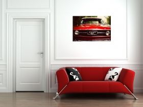 Glass Wall Art Ford Mustang, Glowing in the dark, 60 x 90 cm