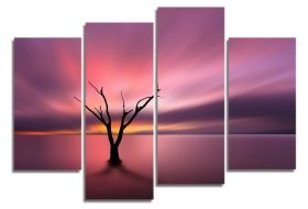 Glass Wall Art The lonely tree, Glowing in the dark, Set of 4, 100 x 120 cm (2 panels 30 x 90 cm, 2 panels 30 x 80 cm)