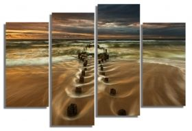 Glass Wall Art The road to the sea, Glowing in the dark, Set of 4, 100 x 120 cm (2 panels 30 x 90 cm, 2 panels 30 x 80 cm)