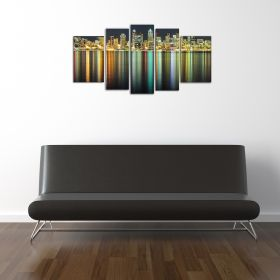 Glass Wall Art American cities, Glowing in the dark, Set of 5, 90 x 180 cm (1 panel 30 x 90 cm, 2 panels 30 x 80 cm, 2 panels 40 x 60 cm)