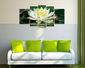 Glass Wall Art Lotus flower, Glowing in the dark, Set of 5, 90 x 180 cm (1 panel 30 x 90 cm, 2 panels 30 x 80 cm, 2 panels 40 x 60 cm)