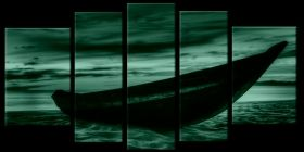 Glass Wall Art The boat on the sand, Glowing in the dark, Set of 5, 90 x 180 cm (1 panel 30 x 90 cm, 2 panels 30 x 80 cm, 2 panels 40 x 60 cm)