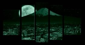Glass Wall Art Yokohama, Glowing in the dark, Set of 5, 90 x 180 cm (1 panel 30 x 90 cm, 2 panels 30 x 80 cm, 2 panels 40 x 60 cm)