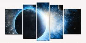 Glass Wall Art Cosmos, Glowing in the dark, Set of 5, 90 x 180 cm (1 panel 30 x 90 cm, 2 panels 30 x 80 cm, 2 panels 40 x 60 cm)