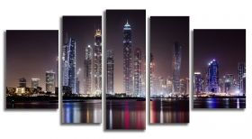 Glass Wall Art Dubai, Glowing in the dark, Set of 5, 90 x 180 cm (1 panel 30 x 90 cm, 2 panels 30 x 80 cm, 2 panels 40 x 60 cm)