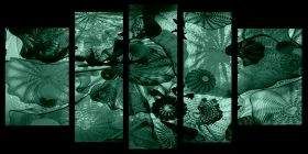 Glass Wall Art Hypnotic, Glowing in the dark, Set of 5, 90 x 180 cm (1 panel 30 x 90 cm, 2 panels 30 x 80 cm, 2 panels 40 x 60 cm)