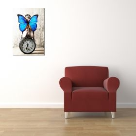 Glass Wall Art Waiting for the butterfly woman, Glowing in the dark, 60 x 90 cm