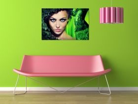 Glass Wall Art The green woman, Glowing in the dark, 60 x 90 cm