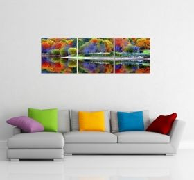 Glass Wall Art The multicolored forest, Glowing in the dark, Set of 3, 60 x 180 cm (3 panels 60 x 60 cm)