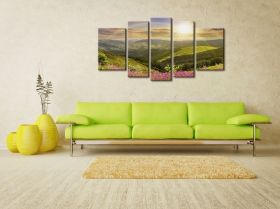 Glass Wall Art Sun and rainbow, Glowing in the dark, Set of 5, 90 x 180 cm (1 panel 30 x 90 cm, 2 panels 30 x 80 cm, 2 panels 40 x 60 cm)