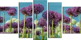 Glass Wall Art Purple field, Glowing in the dark, Set of 5, 90 x 180 cm (1 panel 30 x 90 cm, 2 panels 30 x 80 cm, 2 panels 40 x 60 cm)