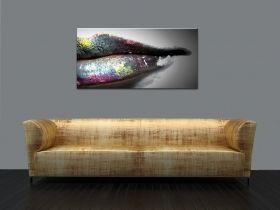 Glass Wall Art Colorful lips, Glowing in the dark, 60 x 120 cm