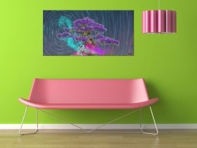 Glass Wall Art Pink Bonsai, Glowing in the dark, 60 x 120 cm