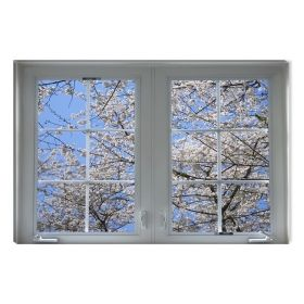 Canvas Wall Art Spring at the window, Glowing in the dark, 80 x 120 cm