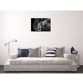 Canvas Wall Art Black and white guitar, Glowing in the dark, 60 x 90 cm