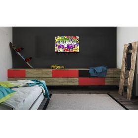 Canvas Wall Art Abstract Graffity, multi color, set, office, for bedroom, living room, children room, modern, decor, prints, painting