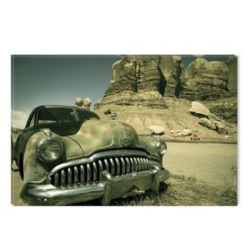 Canvas Wall Art Car of the Canyon, Glowing in the dark, 60 x 90 cm