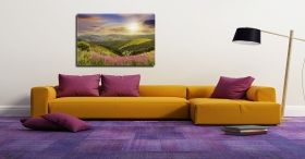 Canvas Wall Art Daydream Sun and Rainbow, Glowing in the dark, 60 x 90 cm