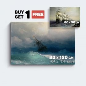 Canvas Wall Art Aivazovski Reproduction Ship in The Storm and Black Sea Fleet Buy one Get Two Bundle Offer